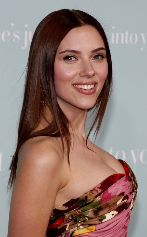 Scarlett Johansson was at the World premiere of 'He's Just Not That Into You' held at the Grauman's Chinese Theater in Hollywood on February 2, 2009. She came wearing a strapless colorful dress to complement her straight shoulder-length hairstyle.