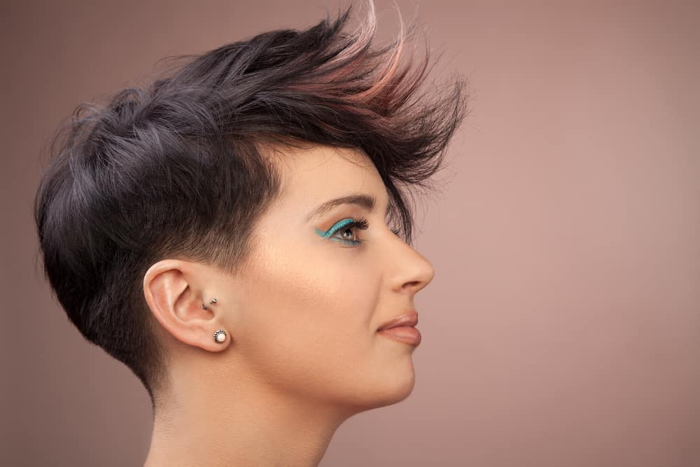 Woman with short, tousled hairsytyle