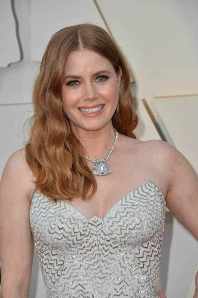 On February 24, 2019, Amy Adams attended the 91st Academy Awards at the Dolby Theatre. She paired her shimmery dress with a long and wavy brunette hairstyle that is loose and tousled.