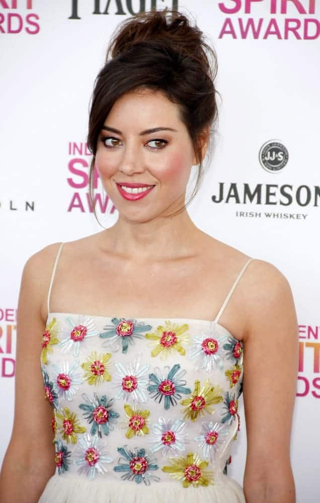 Aubrey Plaza was at the 2013 Film Independent Spirit Awards held at Santa Monica Beach in Los Angeles on February 23, 2013. She wore a lovely floral dress that she topped with a messy upstyle bun hairstyle with loose tendrils.