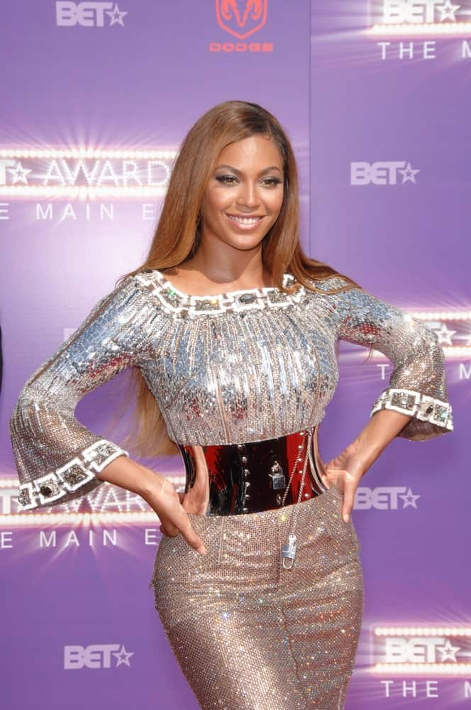 Beyonce paired her stunning sequined dress with a long straight hairstyle during the 2007 BET Awards at The Shrine Auditorium, Los Angeles, CA on June 26, 2007.