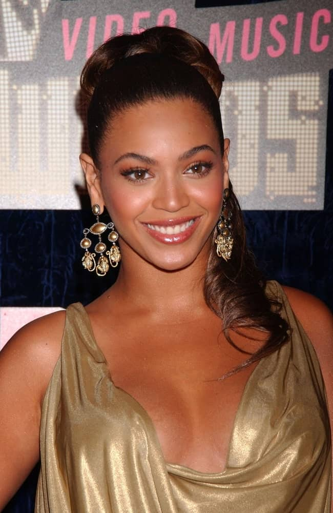Beyonce gathered her brunette hair into a slicked ponytail with bun during the MTV Video Music Awards VMA's 2007 at Palms Casino, Las Vegas, NV on September 9, 2007.