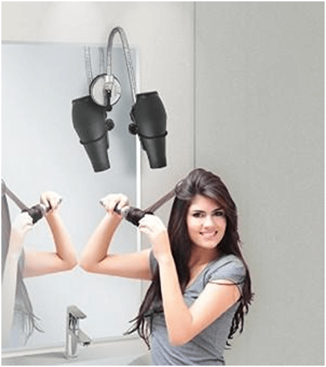 Hands-free hair dryer stand and attachment