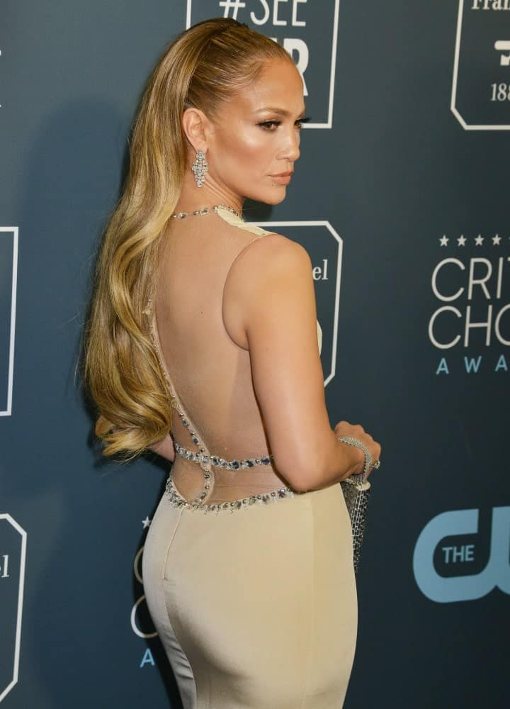 Jennifer Lopez slicked back her long blonde waves at the 25th Annual Critics' Choice Awards held on January 12, 2020.