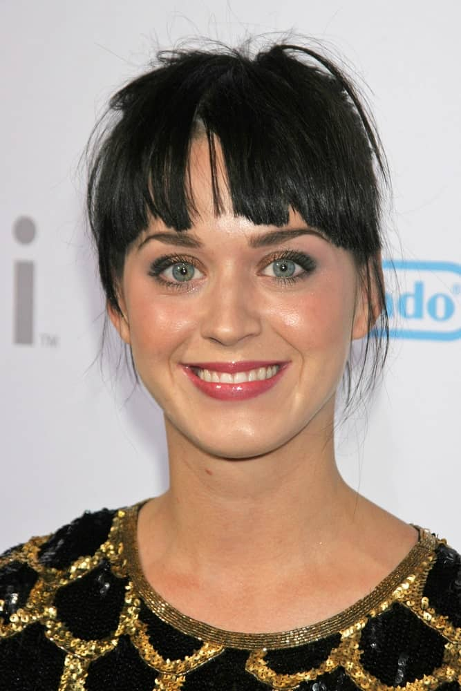 Katy Perry rocked a messy upstyle with jagged bangs during the party celebrating the launch of Nintendo's Game Console Wii last November 16, 2006.