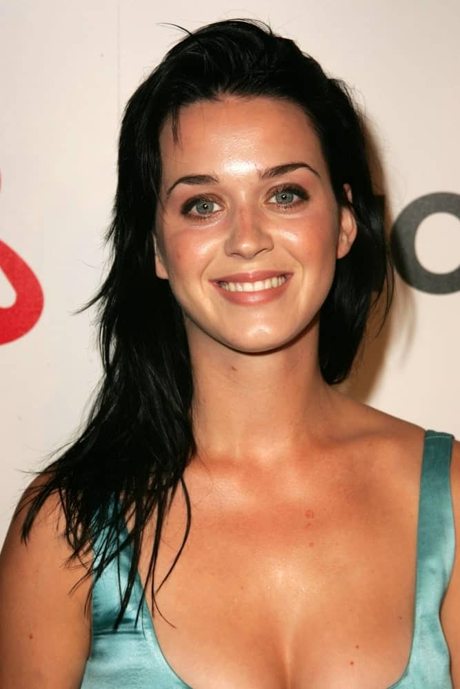 Katy Perry with a loose layered hairstyle during the Lucky Magazine LA Shopping Guide Party on August 10, 2006 in Milk, West Hollywood, CA.