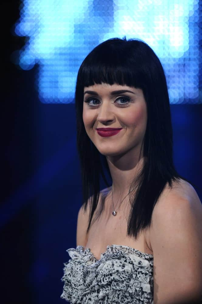 Katy Perry looking sleek in a mid-length straight cut with short blunt bangs during her live concert the Rai Television Studios in Milan on November 18, 2008.