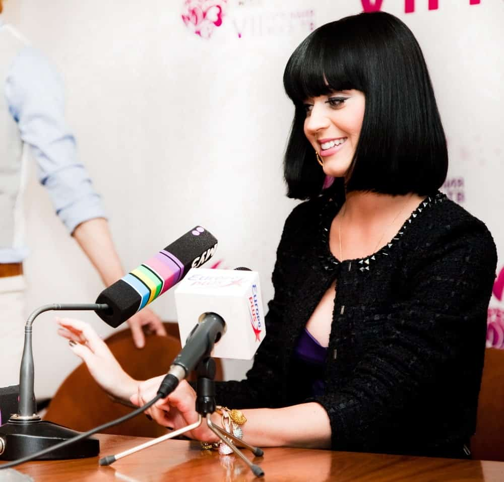 Katy Perry during the Press Conference Muz-TV Award 2009 at Olimpiisky Stadium last June 5, 2009 sporting a cute bob cut with full bangs.