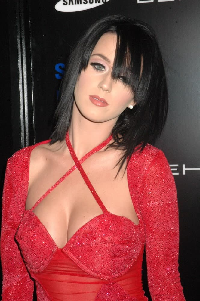 Katy Perry opted for straight mid-length hair with long side bangs at the Samsung Behold ll Premiere Launch Party held at Blvd. 3, Hollywood, CA on November 18, 2009.