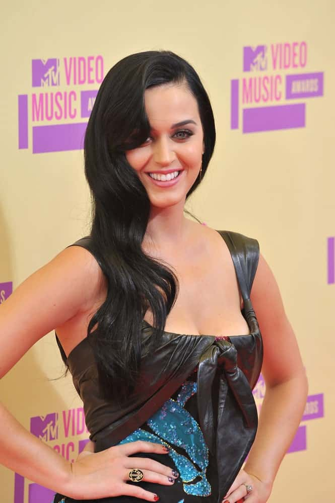 Katy Perry with Hollywood glam side-swept waves at the 2012 MTV Video Music Awards at Staples Center, Los Angeles held on September 6, 2012.