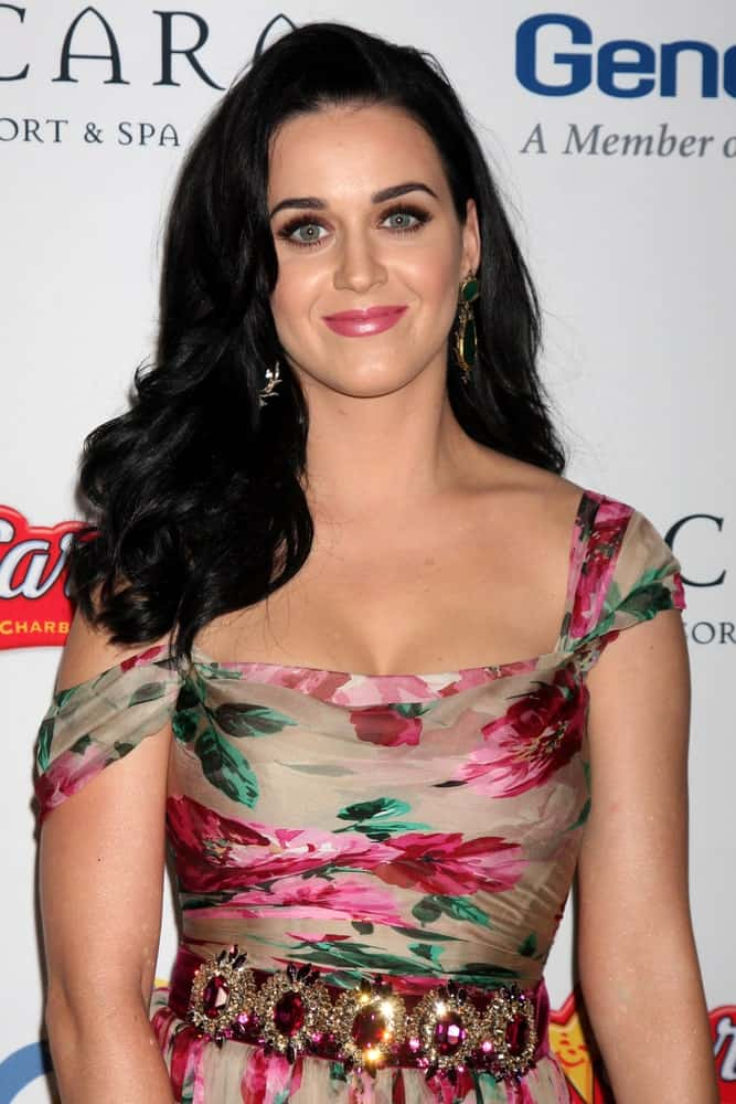 Katy Perry flaunted her voluminous wavy hair paired with a charming floral dress at the 11th Annual Celebration of Dreams at Bacara Resort & Spa on November 16, 2012.