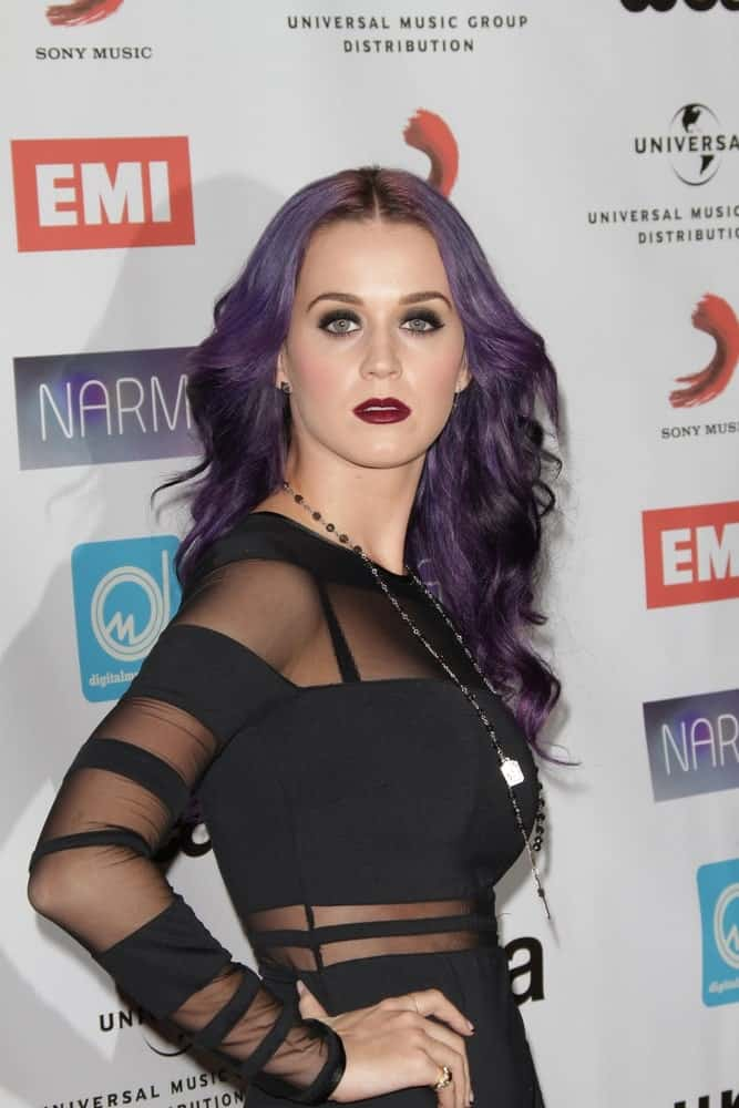 Katy Perry exhibited her long purple waves with middle parting at the NARM Music Biz Awards Dinner Party at Century Plaza Hotel on May 10, 2012.