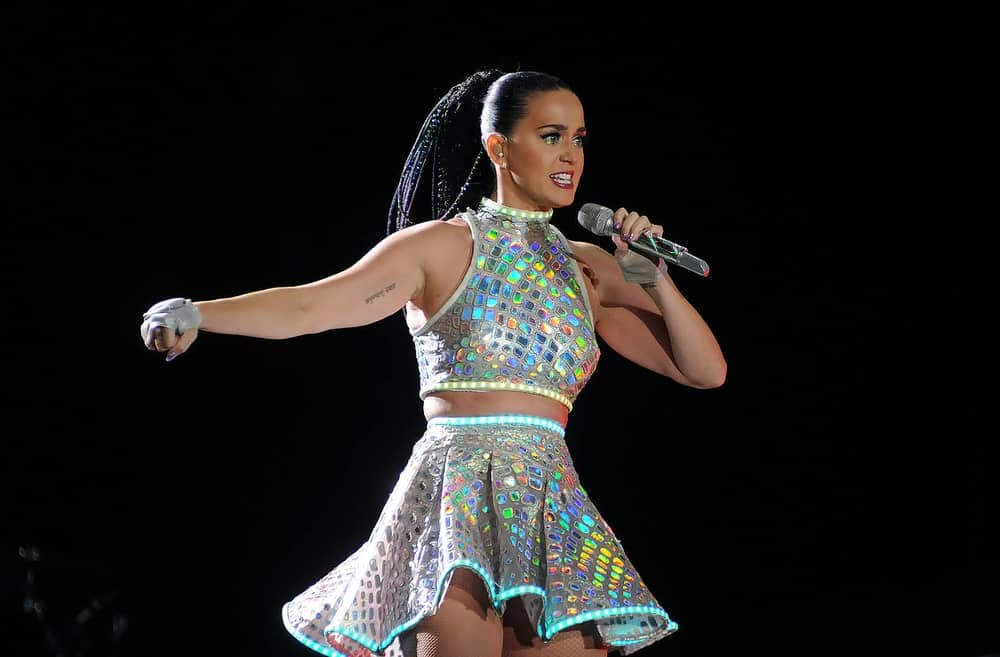 Katy Perry in an edgy outfit along with a sleek high ponytail as she performs at Rock in Rio 2015 in Rio de Janeiro, Brazil last September 28th.