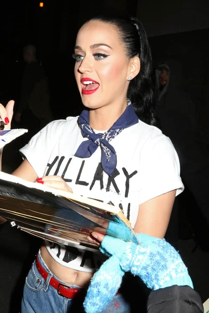 The singer was seen after performing at a Hillary Clinton benefit concert on March 2, 2016 with her raven hair tied in a high ponytail.