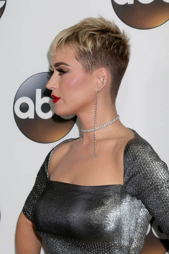 The singer exhibited an edgy look with her spiky pixie cut that she wore at the ABC TCA Winter 2018 Party at Langham Huntington Hotel on January 8, 2018.