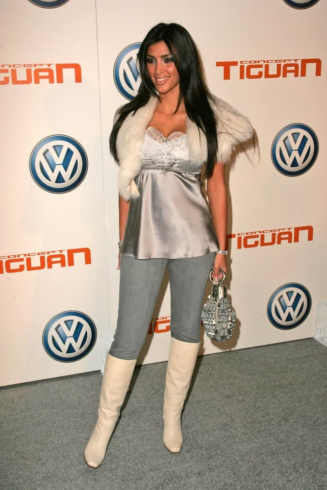 Kim Kardashian looking all glamorous and sweet with her long layered straight locks and a chic outfit that she wore during the Volkswagen Concept Tiguan U.S. Launch Party at Raleigh Studios on November 28, 2006.