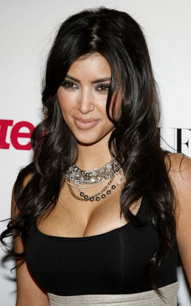 On September 20, 2006, Kim Kardashian wore a sleeveless black dress along with her raven waves that she flaunted at Teen Vogue Young Hollywood Issue Party held at the Sunset Tower on September 20, 2006.