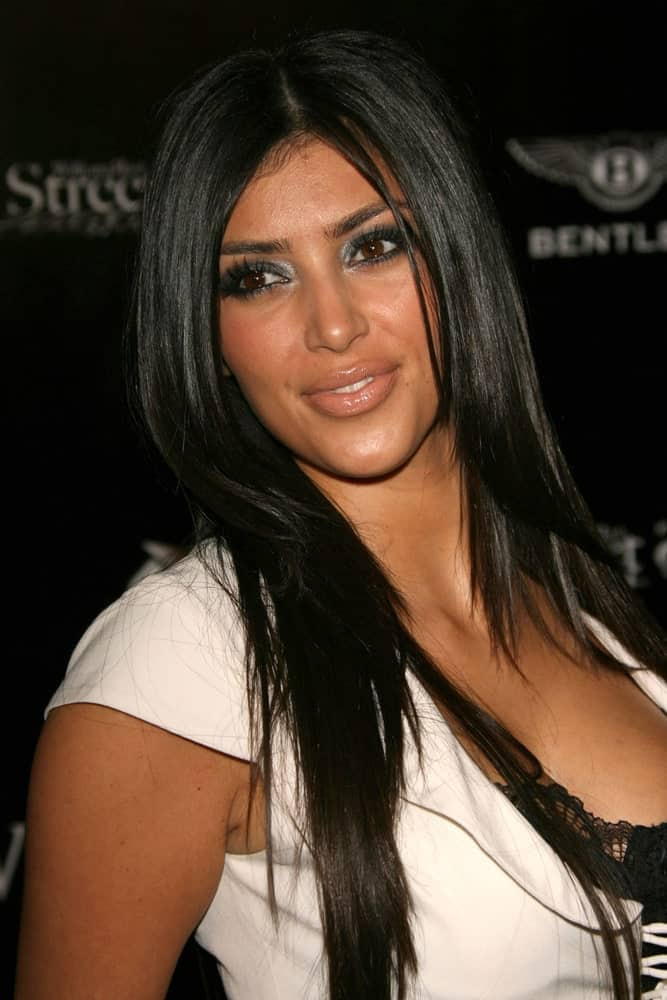 Kim Kardashian kept it casual with a simple straight layered hairstyle during the William Rast Spring 2007