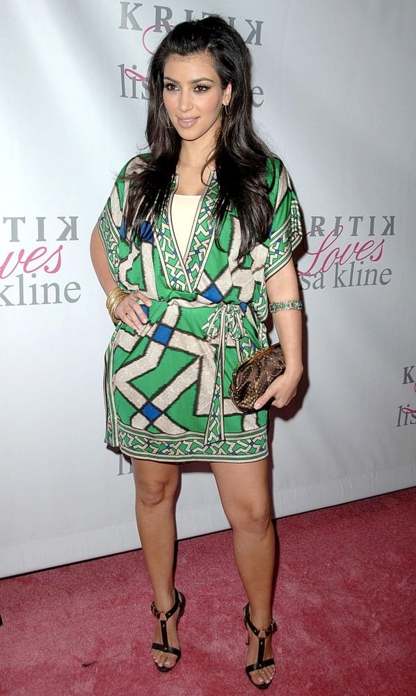 Kim Kardashian flaunted her long layered hair with a pouf at Jonathan Cheban Launches Kritik Clothing on April 10, 2008, in Los Angeles, CA.