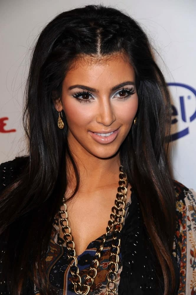 Kim Kardashian styled her long highlighted tresses with double french braid at the 'Rock The Vote' in Esquire House, Hollywood, CA held on September 25, 2008.