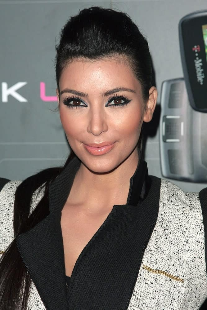 Kim Kardashian opted for a pompadour ponytail during the T-Mobile Sidekick LX Launch Party on May 14, 2009, at Paramount Studios, Los Angeles, CA.