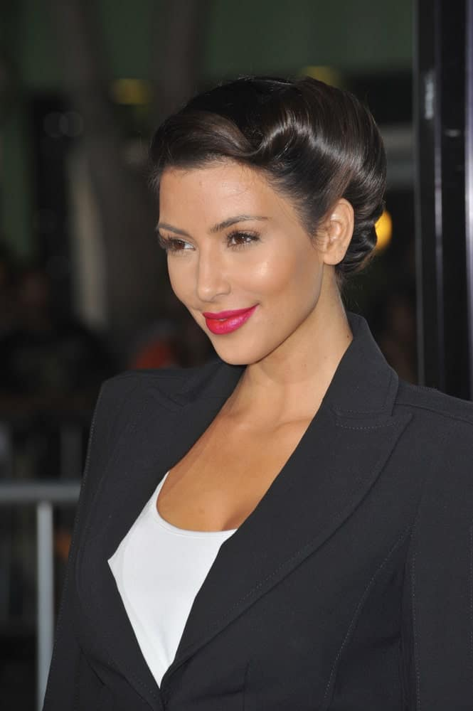 Kim Kardashian looked sophisticated in a classic regal updo at the Los Angeles premiere of