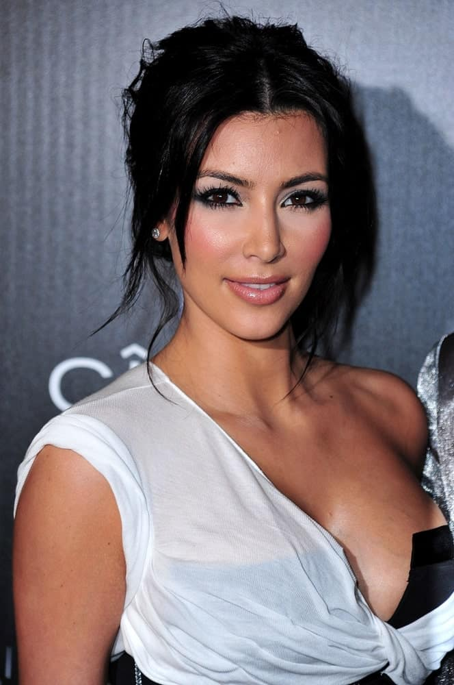 Kim Kardashian tied her raven tresses into a messy upstyle with loose tendrils at Sean Diddy Combs' 40th Birthday Party at The Plaza Hotel, New York on November 17, 2009.