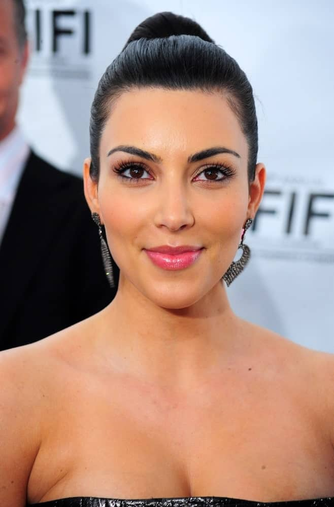 Kim Kardashian opted for a neat high bun during the 2010 Annual FiFi Awards by the Fragrance Foundation, The New York State Armory, New York on June 10, 2010.