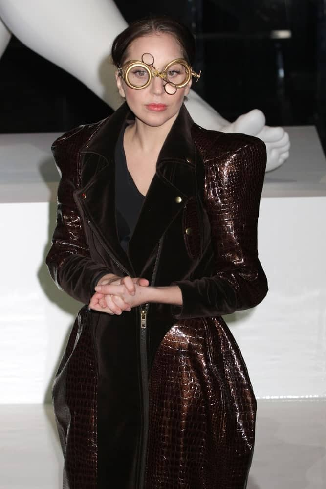 Lady Gaga wore a fashionable snakeskin coat with her quirky goggles and dark messy low bun when she attended the record release party event for 'ARTPOP' at the Brooklyn Navy Yard on November 10, 2013 in New York.