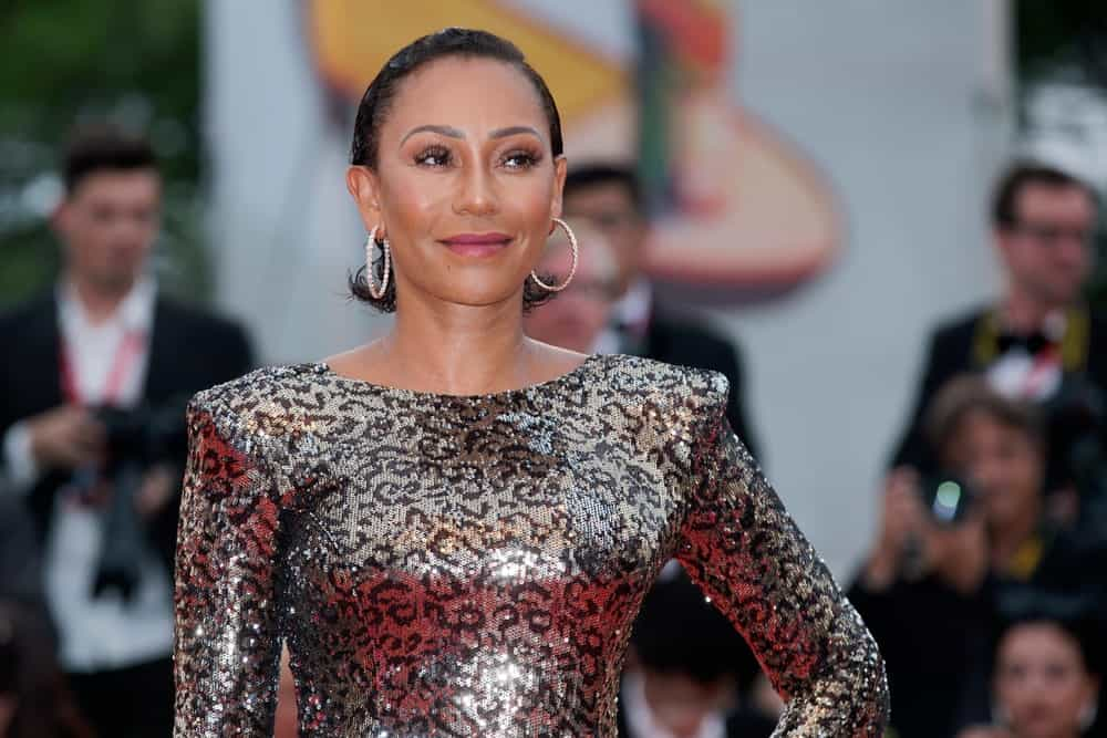 Mel B arrived at the 76th Venice Film Festival on August 28, 2019, with a short, slicked back hairstyle that she paired with hoop earrings.