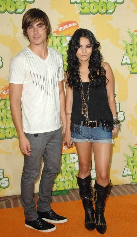 Zac Efron and Vanessa Hudgens were at the Nickelodeon's 22nd Annual Kids' Choice Awards held at the Pauley Pavilion in Los Angeles, CA on March 28, 2009. The couple wore casual outfits that Hudgens paired with her long and curly raven hairstyle loose on her shoulders
