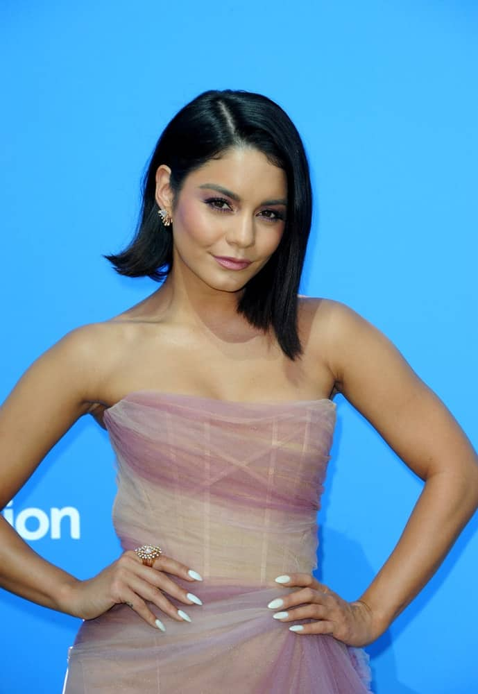 Vanessa Hudgens was at the Los Angeles premiere of 'Dog Days' held at the Westfield Century City in Century City, USA on August 5, 2018. She was stunning in her strapless dress and her raven straight shoulder-length bob hairstyle with a slight side-swept finish.