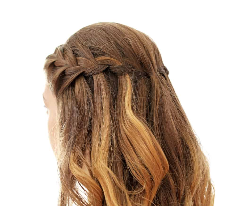 Example of a waterfall braid hairstyle.