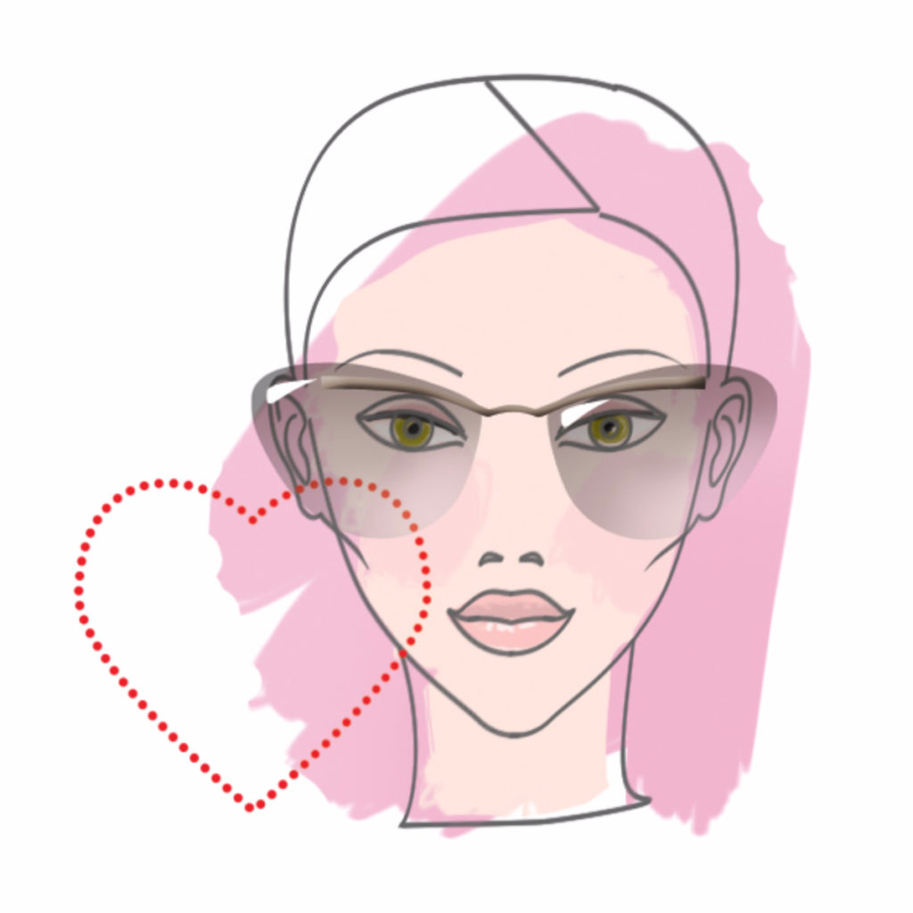 Example of heart-shaped face woman