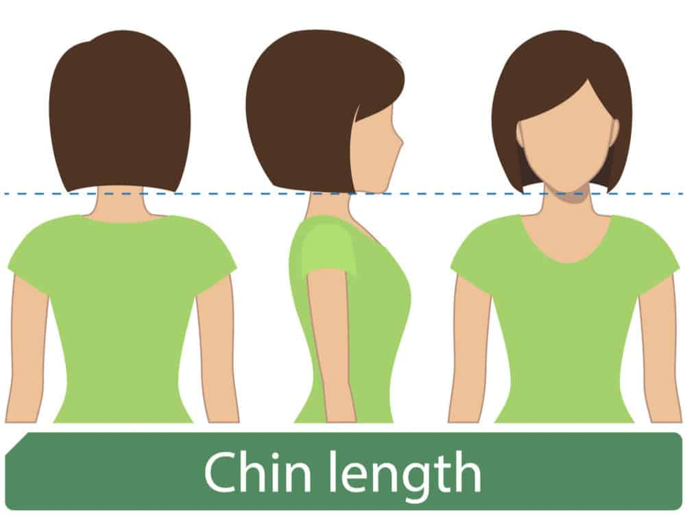 Short ear-length women's hair chart