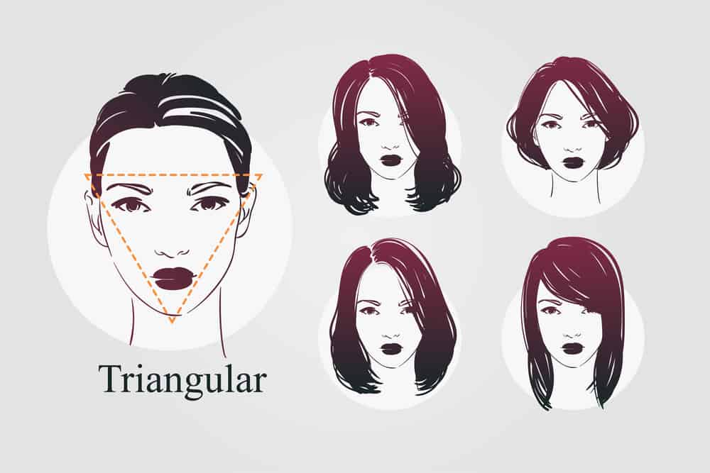 Triangle face shape with different hairstyle examples - illustration
