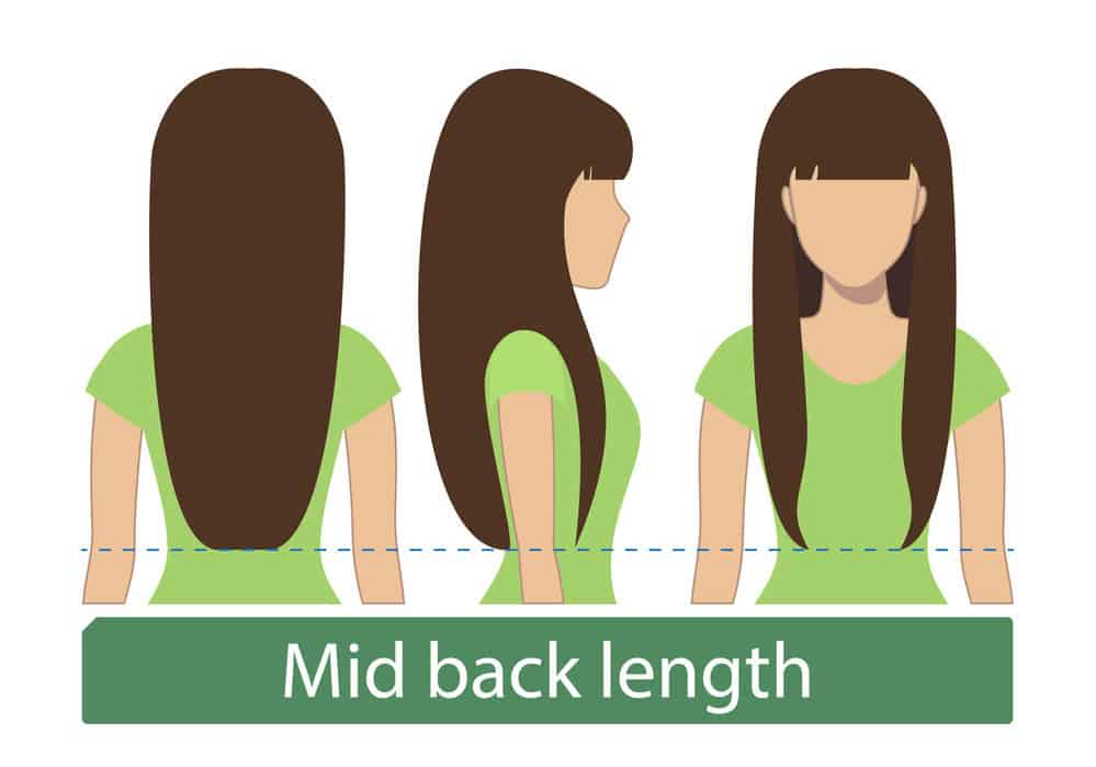 Very long mid-back length hair chart for women