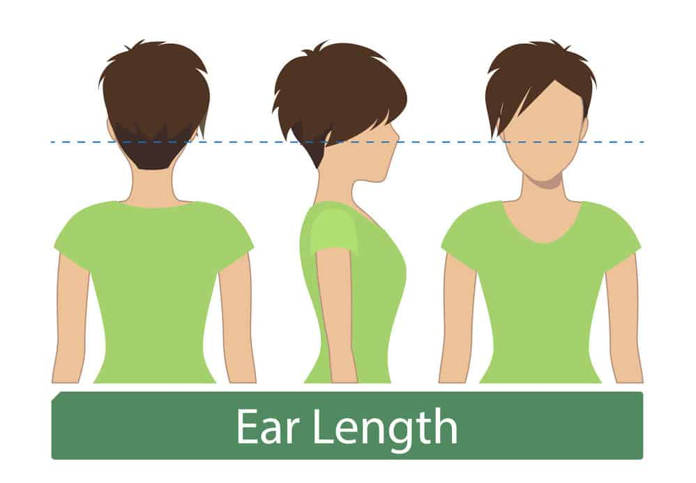 Very short ear-length women hair illustrated chart