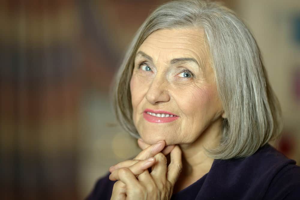 Senior woman with gray hair in bob style