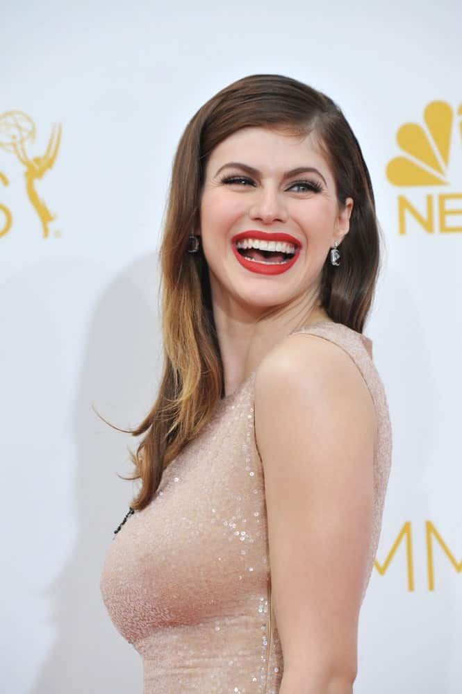 Alexandra Daddario at the 66th Primetime Emmy Awards at the Nokia Theatre L.A. Live downtown Los Angeles.