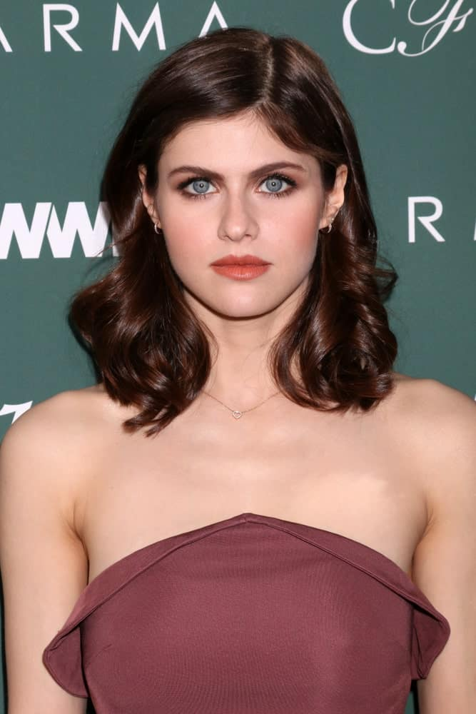 Alexandra Daddario at the CFDA Variety and WWD Runway to Red Carpet at Chateau Marmont Hotel on February 20, 2018 in West Hollywood, CA.
