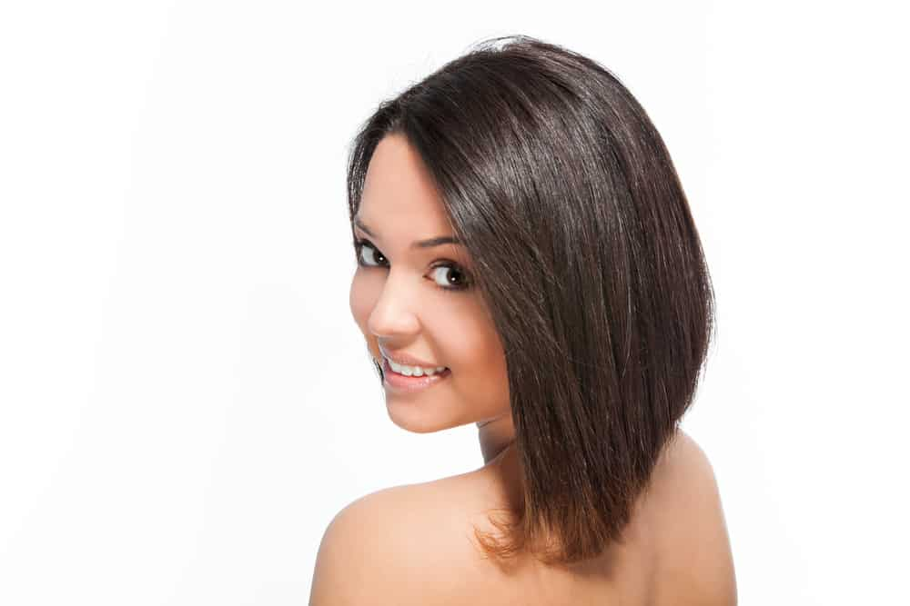 Woman with brunette bob hairstyle