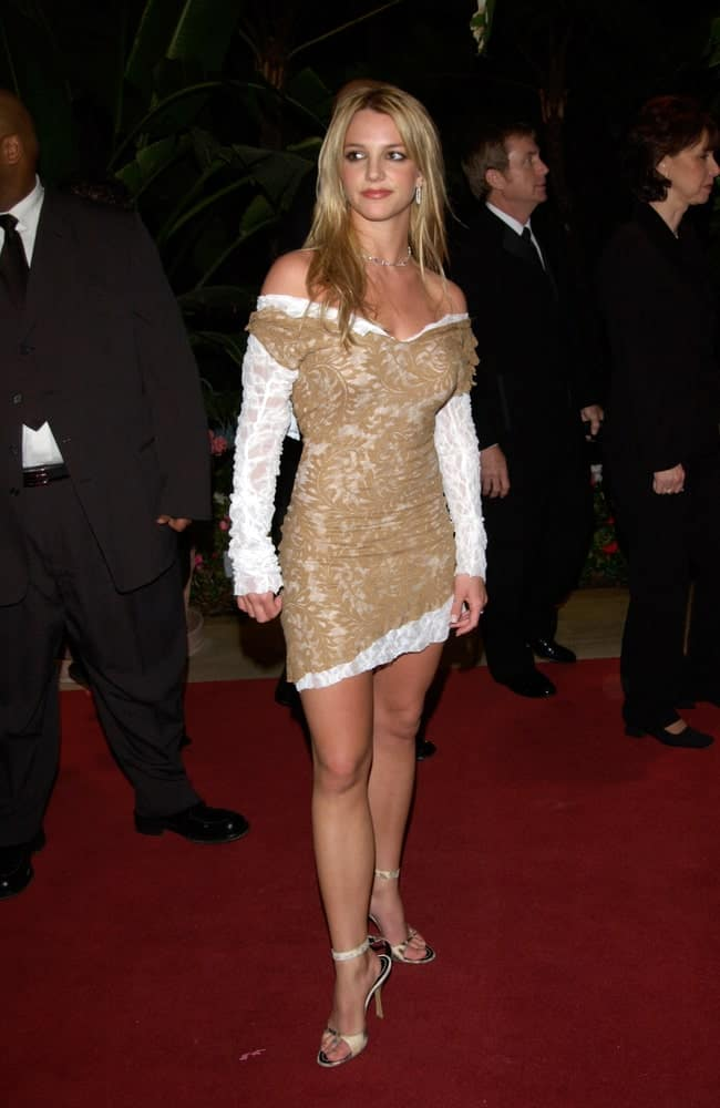 The singer attended the pre-Grammy party given by Clive Davis of J Records at the Beverly Hills Hotel on February 25, 2002 flaunting her long tousled blonde hair perfectly matched with a printed dress.