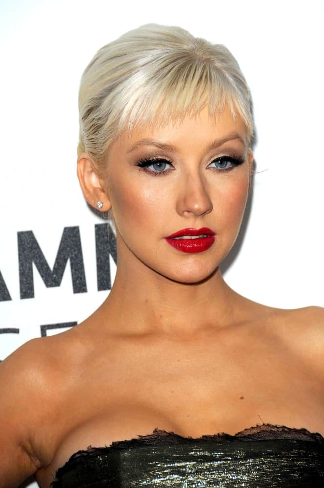 Christina Aguilera in a neat updo with fringe bangs at The Grammy Nominations Concert Live!! Nokia Theatre on December 3, 2008.