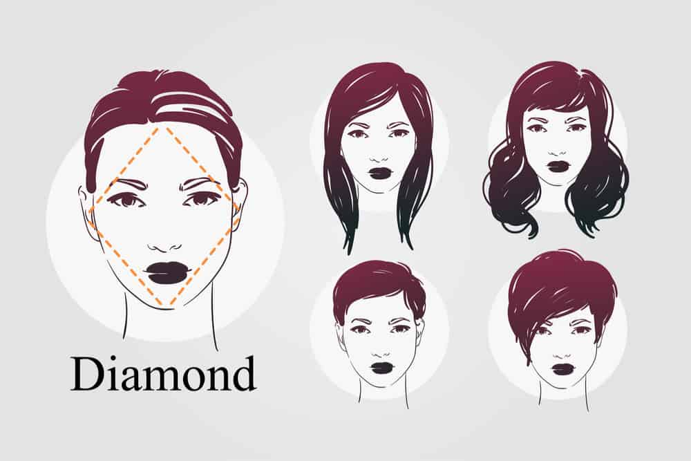 Diamond face shape example with hairstyle examples - illustration