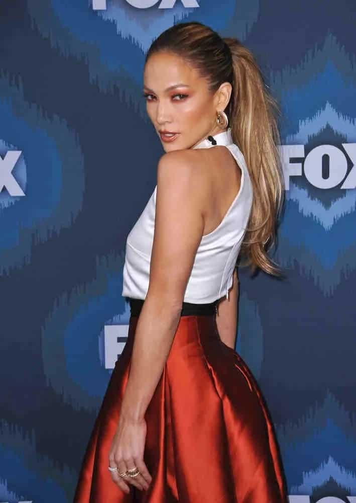 Jennifer Lopez wore her long straight tresses up into a tight high ponytail at the Fox Winter TCA 2015 All-Star Party on January 17, 2015.