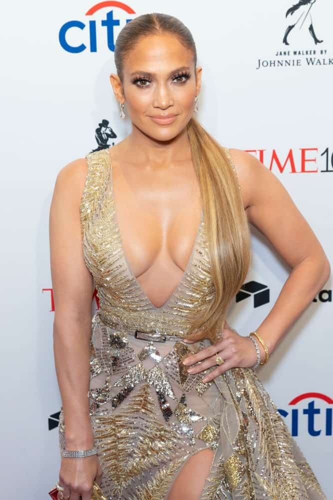 On April 24, 2018, Jennifer Lopez attended the 2018 Time 100 Gala at Jazz at Lincoln Center in a slicked ponytail with middle parting.