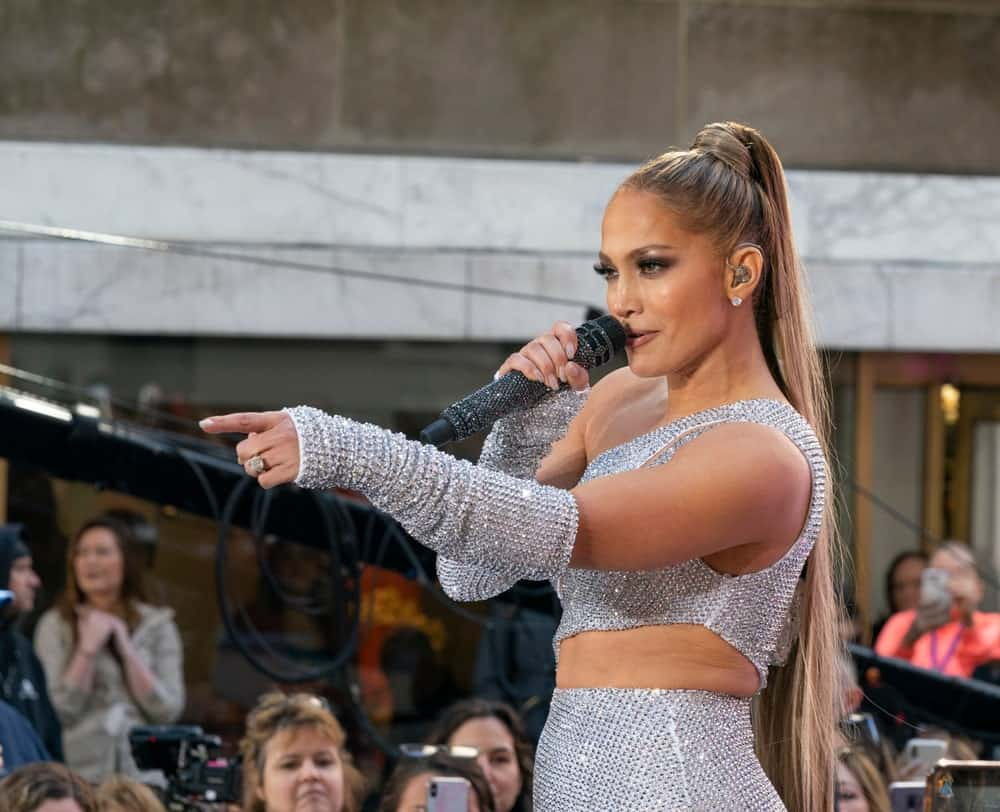 On May 6, 2019, Jennifer Lopez wore a sky-high ponytail during her concert for NBC Today Show at Rockefeller Center.