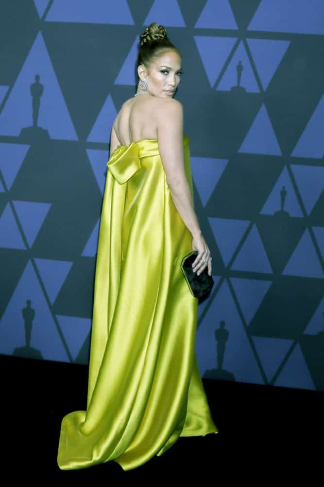 Jennifer Lopez gathered her silky locks into a top braided bunduring the 11th Annual Governors Awards on October 27, 2019.