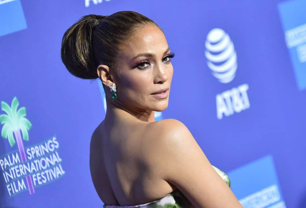 Jennifer Lopez flaunting her high thick bun during the 2020 PSIFF Awards Gala held on January 2, 2020.